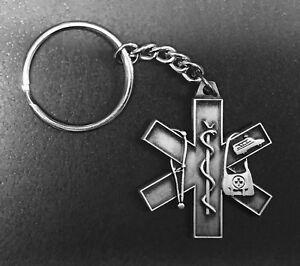 PEWTER EMT / EMS / MEDIC / PARAMEDIC STAR OF LIFE KEY CHAIN KEYCHAIN