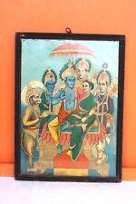 Old Vintage Ravi Varma Press Publication Litho Print Ram Family with Frame F21