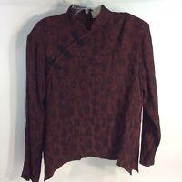 Coldwater Creek Women's XL Burgundy Top Mandarin Collar Paisley Long Sleeved