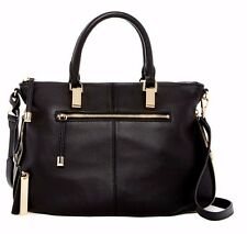 NWT $248 Vince Camuto Rina Leather Women's Satchel Hardware Bag Black Gold