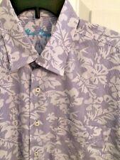 NWT Alan Flusser Blue/White Short Sleeve Shirt Men's Size Large