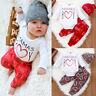 Valentine's Day Newborn Infant Letter Romper Pants Hat Outfits Baby Boys Clothes
