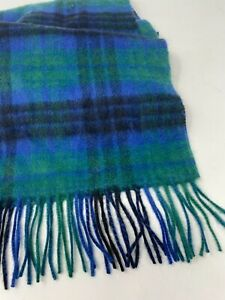 NWT 100% Cashmere Scarf From Nordstrom Blue Green Plaid w/ Fringe $89