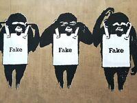 Not Not Banksy hear not Banksy see not Banksy think not Banksy prototype. COA.