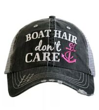 "Katydid Womens Trucker Baseball Style Cap Hat ""Boat Hair Don't Care"" Hot Pink"