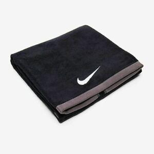"NEW Nike Fundamental Tennis Towel BLACK Swoosh Logo 14"" x 32"" 100% Cotton"