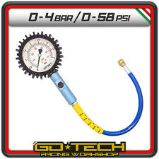 MANOMETRO CONTROLLO PRESSIONE GOMME 80 mm MISURATORE Sport PRECISO PISTA 0-4 bar