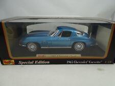 1:18 Maisto Edición Especial #31640-1965 Chevrolet Corvette Color Azul Metal