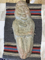 American Folk Art Figural Soapstone Stone Carving, Artist Charles Simmons Signed