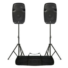 """Compact Powered PA Speakers 800W 10"""" Woofer + Stand Kit DJ Disco SPJ1000AD"""