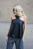 Genuine Lambskin Black leather Women Sleeveless Top