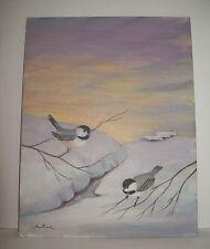 "Original Painting WINTER SNOWFALL BIRDS, Wisconsin Artist, Signed ""J Westhook"""