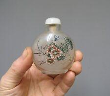 Ancienne tabatière en verre peinte à l'ntérieur. Chine
