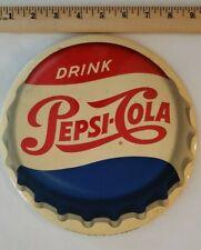 "Vintage PEPSI CELLULOID SIGN 9"" 1950s PHILADELPHIA PA COLA SODA BOTTLE CAP"