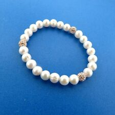 Fresh Water Cultured Pearl Crystal Bead Stretch Bracelet