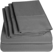 100 EGYPTIAN COTTON COVER BED SHEET SET QUEEN SIZES 1500 THREAD BED SHEETS GREY