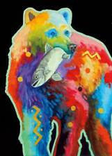 CATCH OF THE DAY NATIVE CANVAS GICLEE BY JOHN BALLOUE bright bear fish 24x36