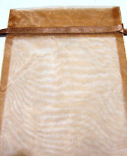Brown Organza Drawstring Pouch 9x8in QTY3 Gift Jewelry Wedding Crystals Bag