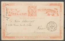 1884 CP entier PANAMA/PAQ. FR. D N°3, càd octogonal, Colombie, SUP X4898