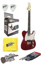 Effin Guitars Smelly/TR Trans Red Electric Tele solid body Guitar w/Clip-on Tune