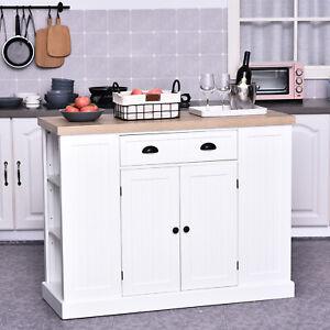 HOMCOM Wood Storage Cabinet w/Drawer&Shelve Kitchen Living Room Furniture White