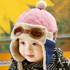 Winter Baby Earflap Toddler Boy Kids Pilot Aviator Cap Warm coffee pink Hat
