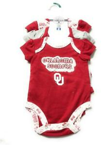 New NCAA Baby Girls' Oklahoma Sooners One piece Bodysuit Set, 3 Pack, For 0-3M
