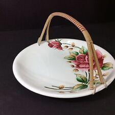 Beautiful Rare Vintage Lefton Japan Americana Serving Dish With Bamboo Handle