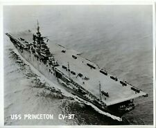 1954 vintage photo US Aircraft carrier USS Princeton CV-37 with sailors on deck