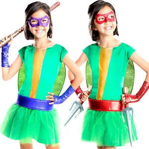 Deluxe Mutant Ninja Turtle Girls Fancy Dress TMNT Superhero Childs Kids Costume