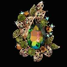 Dazzling Large Green Rhinestone Crystal 14k Gold GP Brooch Pin Oval Center Stone