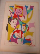 MID CENTURY COLORFUL PAINTING 3 FACES with ABSTRACT BIRD SIGNED  CHAIM GROSS