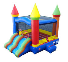 PoGo Rainbow Inflatable Bounce House With Blower Kids Dual Lane Dry Slide Combo