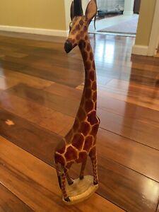 Wooden Giraffe  Hand Carved Figurine African Safari Statue Sculpture Art Wood.