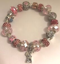 ❤️Authentic PANDORA BRACELET  It's A Girl! 👶 Pink European Charms Beads & Box❤️