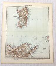 1907 Antique Map of Italy Sardinia North Africa Tunis Gotha Justus Perthes