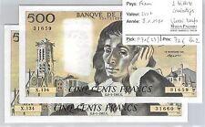 FRANCE - 2 BILLETS CONSECUTIFS 500 FRANCS 8-1-1981 QUASI  NEUF