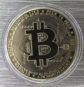 1 Gold Bitcoin Crypto Coin - Commemorative