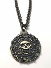 DISNEY PIRATES OF THE CARIBBEAN Aztec Skull Coin Medallion Official Necklace