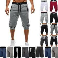 Mens 3/4 Length Elastic Waisted Shorts Jogger Sports Work Pants Casual Bottoms