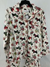 NWT Karen Neuburger 2pc Pajama Set Minky Fleece Dogs Women's Size XL Extra L New