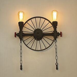 Vintage Wagon Wheel Cartwheel Chandelier Wall Light Metal Water Pipe Steampunk