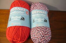 2 skein Bernat Handicrafter Cotton 12oz NAUTICAL Red White Blue & solid RED