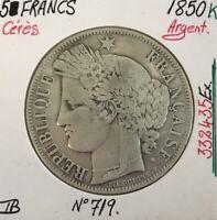 5 FRANCS CERES - 1850K - Pièce de monnaie en Argent // TB