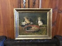 Famous Antique Old Master Painting David B. Bechtel Chickens Oil on Canvas Rare