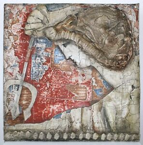 Mixed Media Painting by Ljubo Biro Greek God Poseidon Mid Century Modern