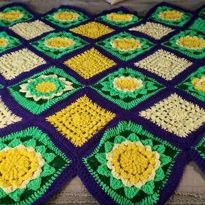 """Flower Afghan Crochet Blanket Granny Square Handmade 84""""× 60"""" Vintage Style"""