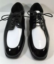 After Six Mens Black & White Patent Leather Tuxedo Shoes 9 M Formal
