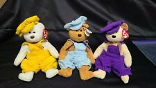 Set of 3 Vintage Beanie Babies Accessories - Overalls Outfits with Hats