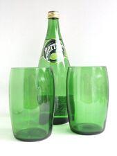 Perrier Bottle Green Glass Drinking Glasses Set of Two